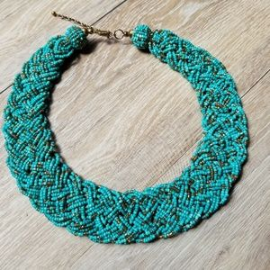 Jewelry - Turquoise and gold beaded collar necklace
